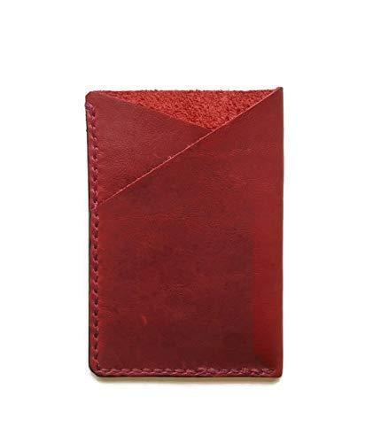 Genuine Leather Credit Card Wallet Case Holder Slim Front Pocket Wallet for Men and Women Handmade Burgundy
