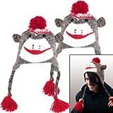 Trademark Poker 80-1123-2 Set of 2 Adult Size Brown Sock Monkey Knit Hat