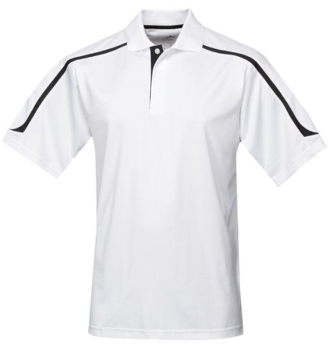 Tri-mountain Mens 100% Polyester UC Knit Polo Shirt. 174 - WHITE / BLACK_XLT
