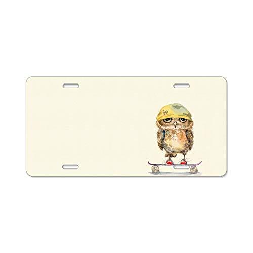 SUJQNGC Owl Bandana Skateboard Art License Plate ()