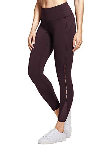 CRZ YOGA Women's Naked Feeling Stretchy High Waist 7/8 Tight Mesh Yoga Leggings Chocolate New-25'' XXS(00)