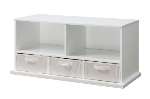 [Badger Basket Shelf Storage Cubby with Three Baskets, White] (Badger White Liner)