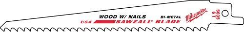 12' Reciprocating Blade - Milwaukee 48-01-7037 Super Sawzall Blade 6 Teeth per Inch 12-Inch Length 100-Pack Bulk