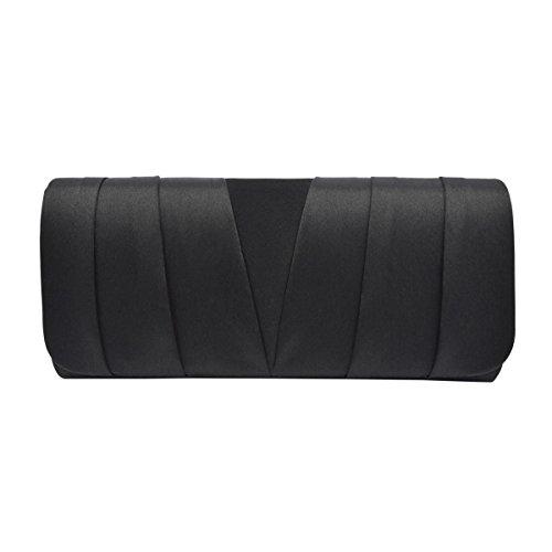 Elegant Classic Satin Pleated Satin Flap Clutch Evening Bag Handbag, (Black Satin Clutch)