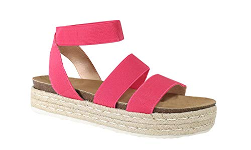 Fuchsia Wedge Women - Nature Breze Kacie 02 Women's Casual Summer/Spring Open Toe Espadrille Wedge Sandals, Fuchsia 8