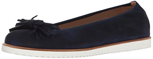 Flats Suede French Sole (French Sole FS/NY Women's Wyatt Ballet Flat, Navy Suede, 8 M US)