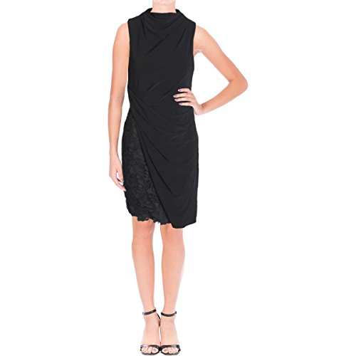 Vera Wang Womens Matte Jersey Lace Trim Cocktail Dress Black 8