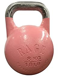RAGE Fitness Competition Kettlebell - 8 kg / 18 lbs - Pink Ribbon Edition for Fight Against Breast Cancer