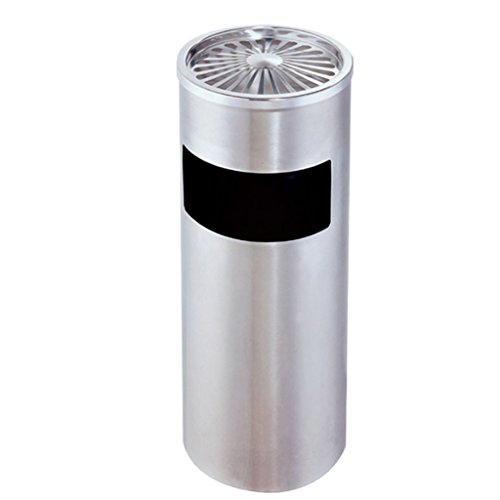 (piaoling Cylindrical Stainless Steel Trash Can Hotel Lobby with Ashtray Vertical Rubbish Bin Hotel Shopping Mall Floor Waste Bin 12L (Color : Silver))