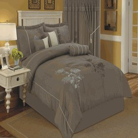 (sheetsnthings 7pc Queen Size Tomahawk Taupe Embroidered Comforter Set)