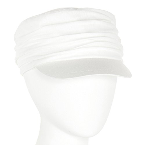 Crinkle Cap - Unisex Summer Cotton Ruched Jersey Crinkle Bunch Cadet Castro GI Cap Hat White