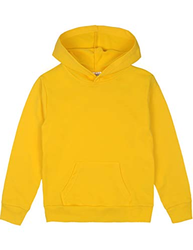 Spring&Gege Youth Solid Pullover Sport Hoodies Soft Kids Hooded Sweatshirts for Boys and Girls Size 9-10 Years Yellow