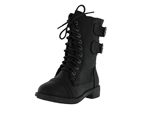 Lucky Top Soda Pack72 Dome Girls Faux Leather Combat Boots,3 M US,Black ()