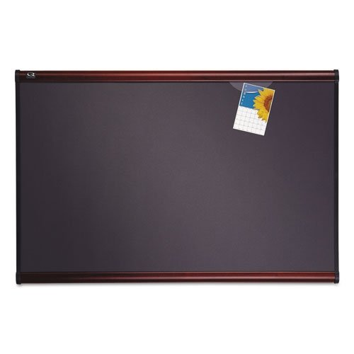 Tight Weave Fabric Board - Quartet B447M Quartet Prestige Bulletin Board, Diamond Mesh Fabric, 72x48, GY/Mahogany Frame