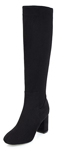 Aisun Womens Elegant Simple Dressy Inside Zip Up Round Toe Chunky High Heels Knee High Boots With Zipper Black RUfOG