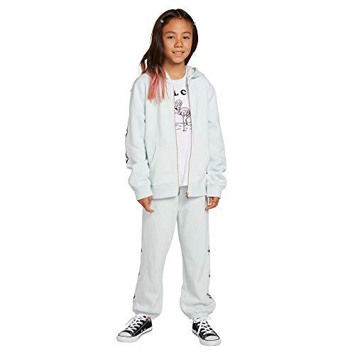 Volcom Womens Girls Zippety Hoooded Zip Up Sweatshirt, smokey blue, Large