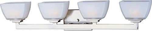 - Maxim 9034SWSN Angle 4-Light Bath Vanity, Satin Nickel Finish, Satin White Glass, G9 Frost Xenon Xenon Bulb , 100W Max., Wet Safety Rating, 2700K Color Temp, Standard Dimmable, Glass Shade Material, 1150 Rated Lumens
