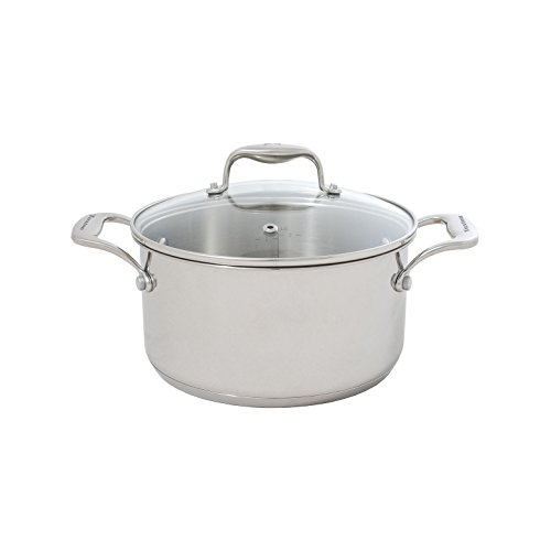 Tuxton Home Concentrix 3QT Covered Casserole; Stainless Steel, PFTE & PFOA Free, Dishwasher and Oven Safe