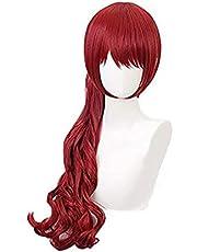 Game Persona 5 Yoshizawa Kasumi Donkerrood Pruik Cosplay Kostuum Hittebestendig Synthetisch Haar met chip Verwijderbare Paardenstaart Seupeak
