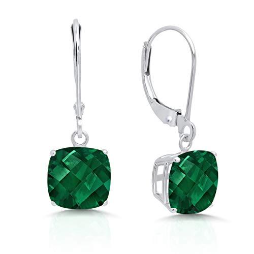 - 14k White Gold Created Emerald Dangle Leverback Earrings (8mm)