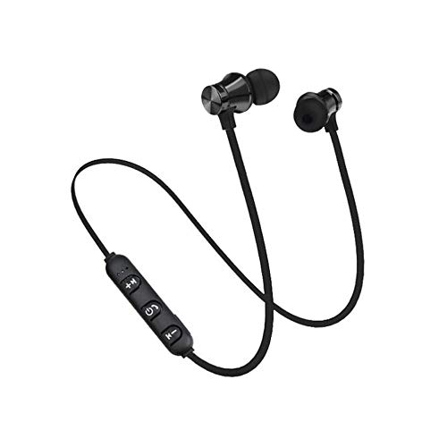 Choosebuy BT 4.2 Wireless Sport Stereo Earphone with Magnetic, Sweatproof, HD, Power Display Voice Prompts, Bass Stereo In-Ear Earbuds Headset + 1Pcs Ear Cap for Phone and iPad (Black)