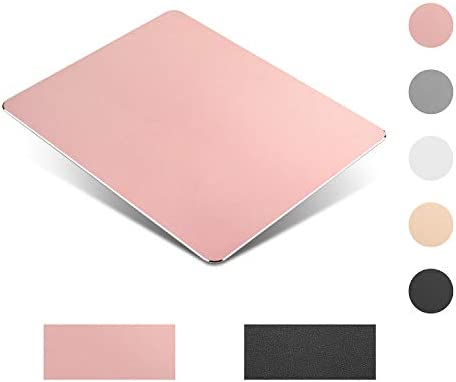 Metal Aluminum Mouse PadPU Leather,Thin Double Side Mouse Mat Waterproof Fast and Accurate CompatibleComputers Laptops and Desktops(8.66Inch x 7.08 Inch) (Rose Gold)