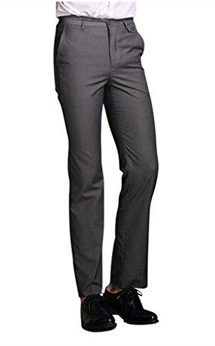 MOGU Mens Slim Fit Flat Front Pant US Size 36(Tag Asian Size 3XL) Dark -