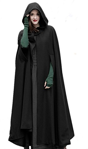 OKSakady Cloak with Hood Open Front Loose Cape Shawl Poncho Coat Long Cloak Jacket Outwear for Women Men Winter Autumn Black