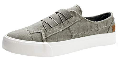 (PepStep Women's Low Top Canvas Sneakers,Comfortable Slip On Casual Shoes for Women, Grey/Rose (10, Grey) )