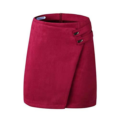 VKOOVIFA Women's High Waist Faux Suede Zipper Back A-Line Bodycon Short Mini Skirts Wine Red Medium. - Suede Leather Mini