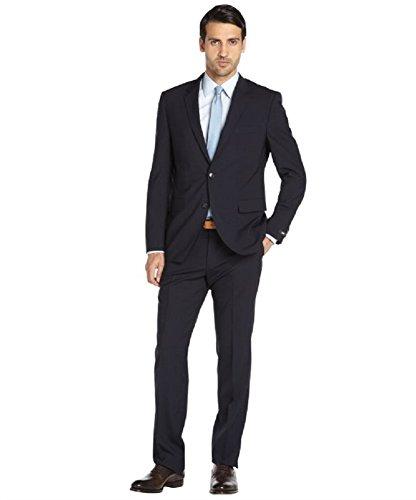 Hugo Boss Grand Central Navy Blue Men's Wool Suit 2 Button Black Label Regular (44)