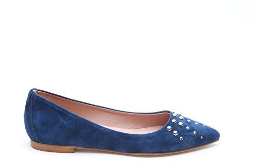 Scarpe italiane ballerine con borchie blu