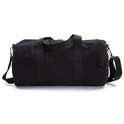 Heavyweight Canvas Duffel Bag, Black, Medium with FREE Paracord Survival - Duffle Cotton