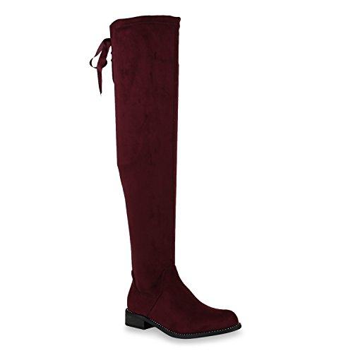 Stiefelparadies Damen Leicht Gefütterte Langschaftstiefel Overknees Velours Boots Flandell Dunkelrot Schleife Carlet