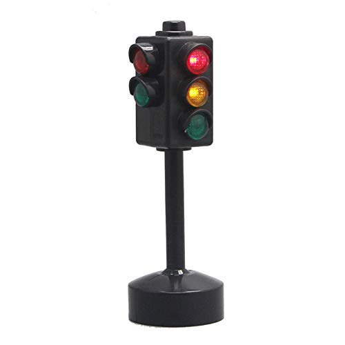 2 pc Simulation Electric Traffic Light Lamp with Base ,5 inches - Great for Traffic Education Cake Decoration Children's Games, Traffic Scene simulationtoy Toy (Black)