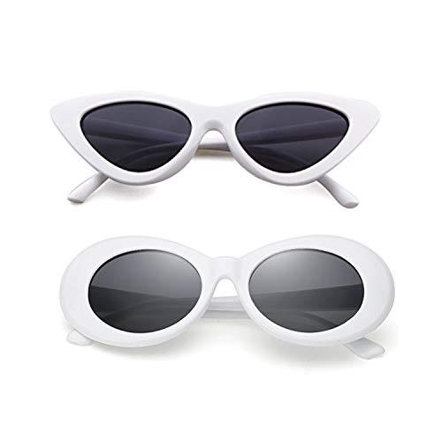 Sunglasses for kids,FOURCHEN Bold Retro Oval Mod Thick Frame Sunglasses Round Lens Clout Goggles (cateye white+retro white)