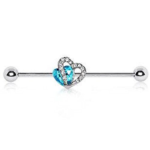 (316L Stainless Steel Double Hearts WildKlass Industrial Barbell)
