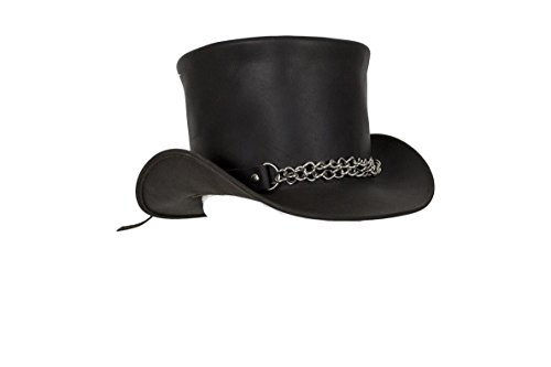 - Black Naked Leather Deadman Top Hat with Chrome Chain