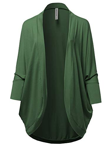 Premium 3/4 Sleeve Loose Cocoon Open Front Pocket Cardigan Army Green M ()
