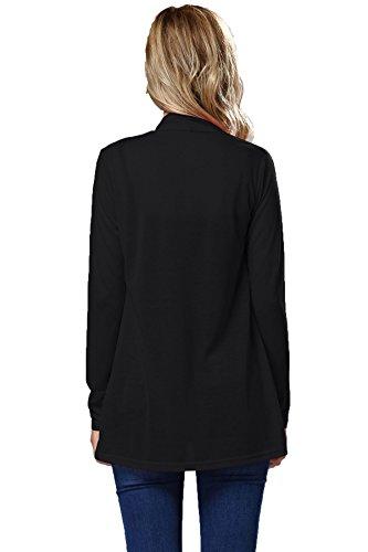 Tinta Fasciante Relaxed Unita T Donna Felpe Abbigliamento Larghi Classica Bluse shirt Deaman Elasticizzati Monocolore Nero Eleganti XPiuwkOZT