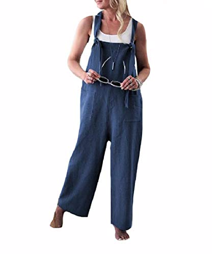 Yusky Womens Suspenders Pork Chop Pocket Boyfriend Loose Bibs Jumpsuits Blue L ()