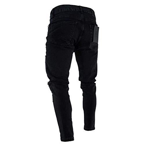 Jeans Nero In Ragazzi Da Classiche Pantaloni Di Retrò Denim Con Moda Casual Holes Torn Elasticizzati Skinny Uomo ZaYnwHqw1C