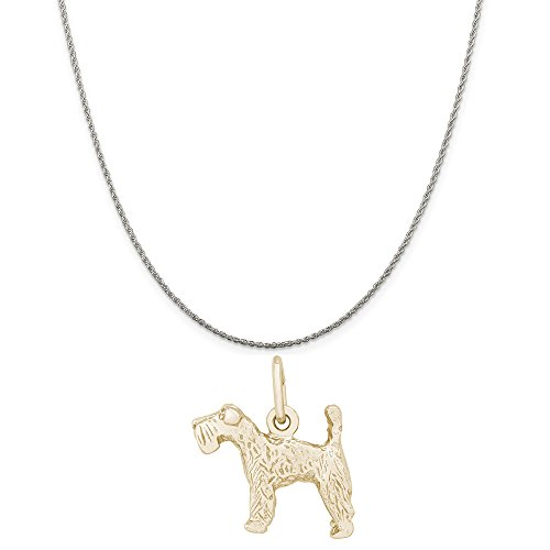 Terrier Kerry Dog Charm Blue (Rembrandt Charms Two-Tone Sterling Silver Kerry Blue Terrier Charm on a Sterling Silver Rope Chain Necklace, 20