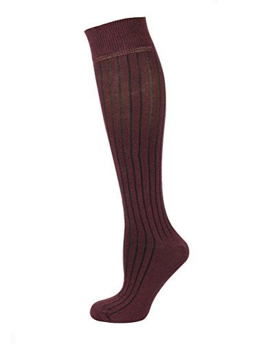 - Mysocks Unisex Knee High Long Socks Plain Burgundy Ribbed