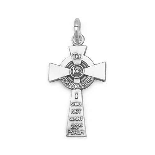 23rd Psalm The Lord is My Shepherd Cross Charm Pendant Sterling Silver ()