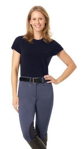 Ovation Euroweave Ladies Breech (Ovation Women's Celebrity Euroweave Dx Knee Patch Breeches Lt Tan 26 R US by Ovation)