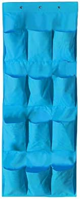 Dyda6 Schuh-Organizer mit 24 Taschen, zum Aufhängen an der Tür, langlebig, schmal, blau, 2 Packungen