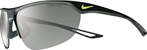 Nike Golf Cross Trainer Sunglasses, Black/Volt Frame, Grey with Silver Flash - Glasses Nike Men