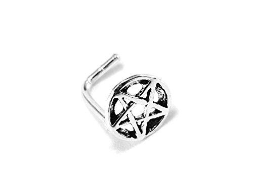 1 Piece 20g (0.8mm) Silver Nose Stud Pentagram Star L Shape 1/4