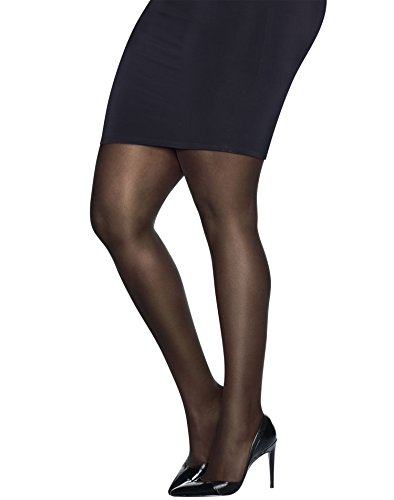 Just My Size Womens Ultra-Sheer Run-Resistant Pantyhose, Q81104, 3X/4X, Black (Just My Size Pantyhose Sheer Toe)